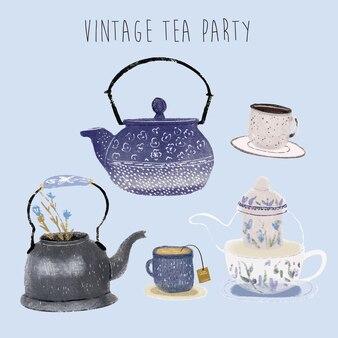 Festa do chá vintage - coleção de mão desenhada