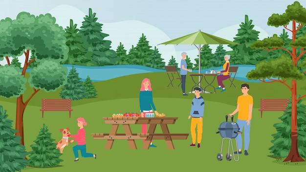 Festa do churrasco em família feliz, churrasco e pessoas no piquenique com alimentos grelhados na ilustração da natureza.