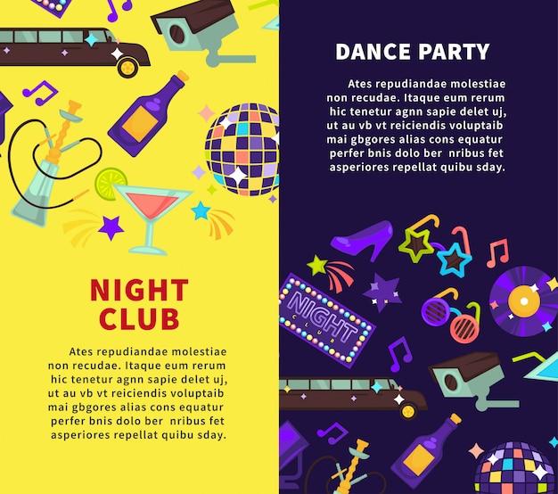 Festa do clube de noite e cartazes de vetor de festa de dança