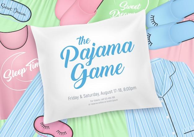 Festa do pijama para crianças modelo de convite com elementos de roupa de dormir e data do pijama na ilustração de fundo de travesseiro
