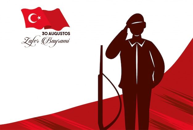 Festa do zafer bayrami com figura de soldado e rifle