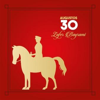 Festa do zafer bayrami com soldado a cavalo Vetor Premium