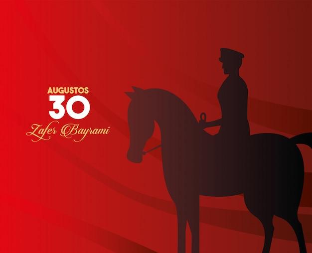 Festa do zafer bayrami com soldado a cavalo