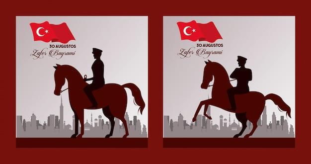 Festa do zafer bayrami com soldados em cenas de cavalos Vetor Premium