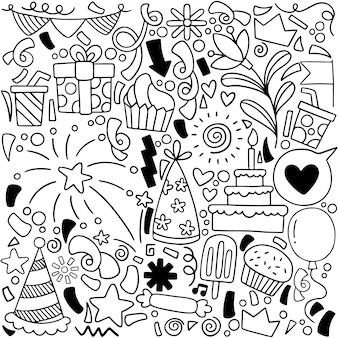 Festa doodle feliz aniversário cartão com elementos de desenho