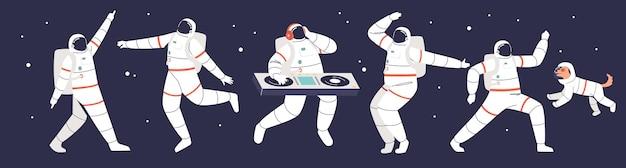 Festa dos astronautas: grupo de astronautas dos desenhos animados dançando no espaço usando trajes espaciais sobre o fundo da galáxia e das estrelas. ilustração vetorial plana