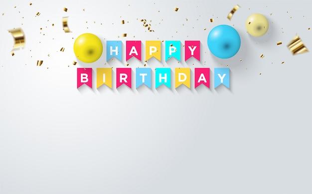 Festa fundo com ilustrações de balão e objetos quadrados coloridos lendo feliz aniversário.