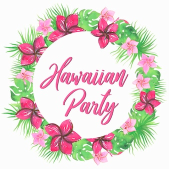 Festa havaiana, grinalda. ilustração em aquarela. vetor isolado.
