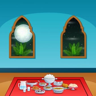 Festa iftar com deliciosos pratos dentro da mesquita