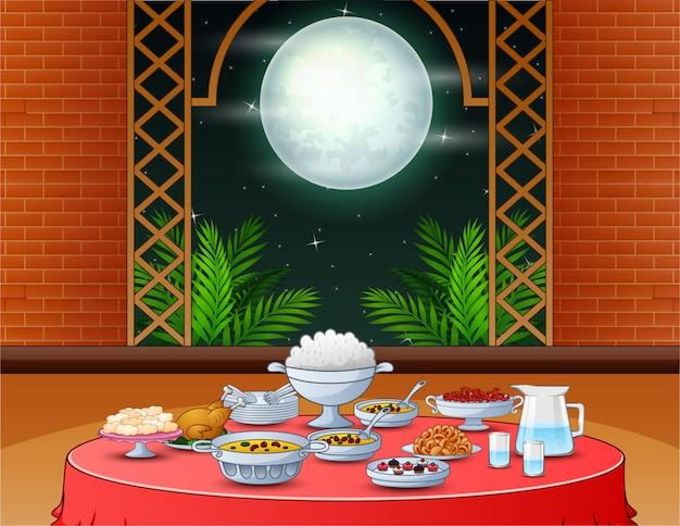 Festa iftar com deliciosos pratos na mesa de jantar