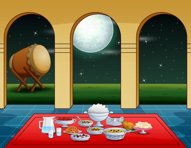 Festa iftar com deliciosos pratos na mesquita