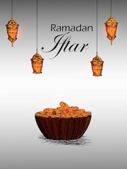 Festa iftar ou fundo mubarak no ramadã com lanterna árabe