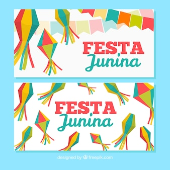 Festa junina banners com decoração tradicional