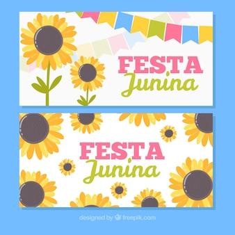 Festa junina banners com girassóis