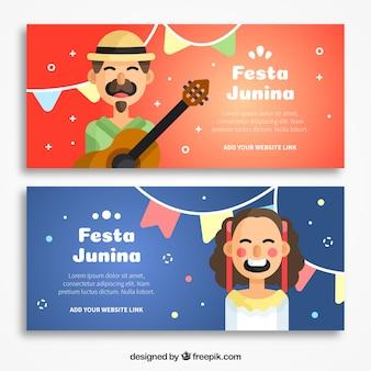 Festa junina banners com personagens agradáveis