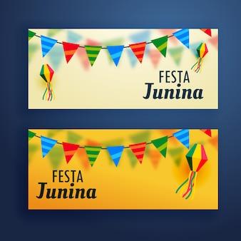 Festa junina banners conjunto de dois