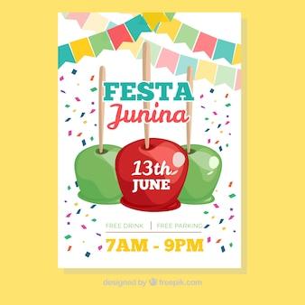 Festa junina brochura com confete e caramelo maçãs