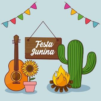 Festa junina cartão com cactos e fogueira e sinal
