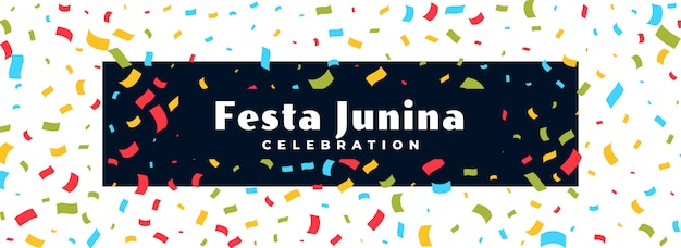 Festa junina celebração confetti banner