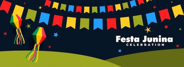 Festa junina celebração noite banner