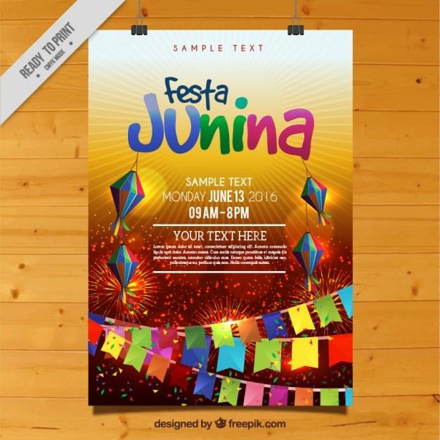Festa junina colorida celebração poster