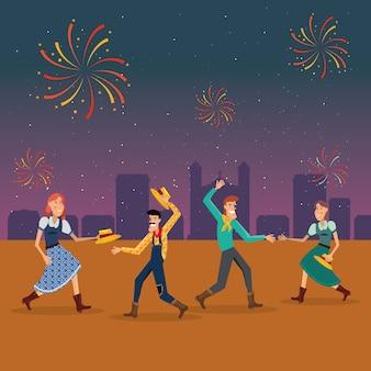 Festa junina com casais de desenho animado dançando uma dança tradicional sobre o fundo da cidade
