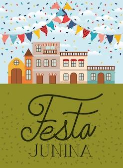 Festa junina com cena de aldeia e guirlandas