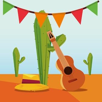 Festa junina com chapéu e guitarra sobre plantas de cactos