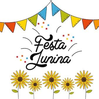 Festa junina com design de festa de bandeiras e girassóis