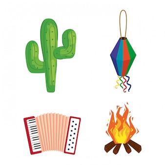 Festa junina com festival, festival de junho do brasil, conjunto de ícones de ilustração design
