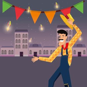 Festa junina com galhardetes decorativos e homem de desenho animado sobre o fundo da cidade