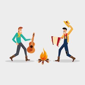 Festa junina com homens de desenhos animados que dançam dança tradicional em torno de uma fogueira
