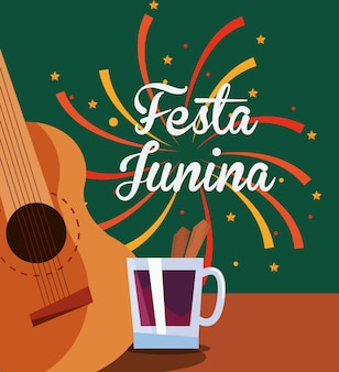 Festa junina com ícone de guitarra e bebida sobre fundo colorido