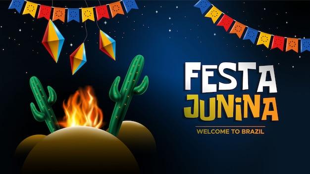 Festa junina com lanterna de papel e fogueira de cacto