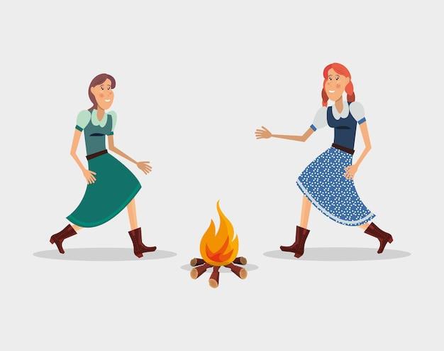 Festa junina com mulheres de desenho animado dançando dança tradicional em torno de uma fogueira
