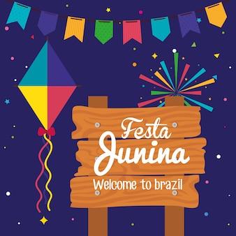 Festa junina com sinal de madeira e decoração, ilustração de festival brasil junho