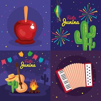 Festa junina conjunto de cartões, brasil festival de junho com ilustração de decoração