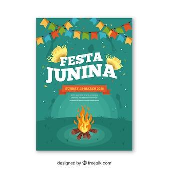 Festa junina convite com fogueira