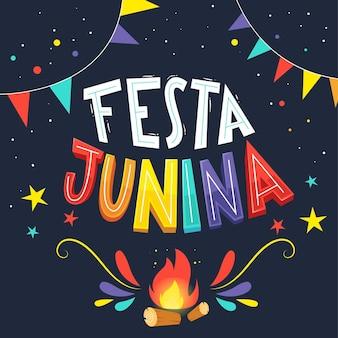 Festa junina desenhada de mão