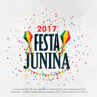 Festa junina design de cartaz de celebração com confetes