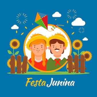 Festa junina design plano papel de parede