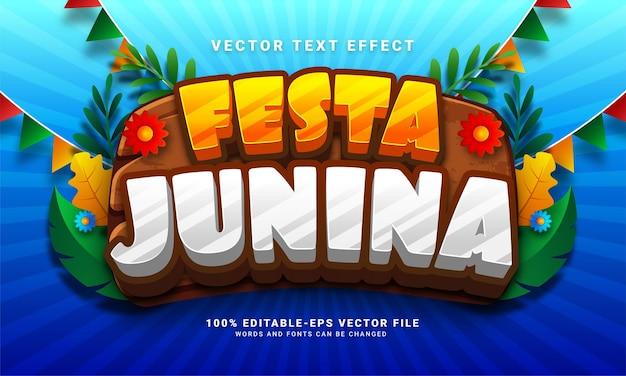 Festa junina efeito de texto editável 3d adequado para festivais de festa junina