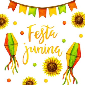 Festa junina em aquarela