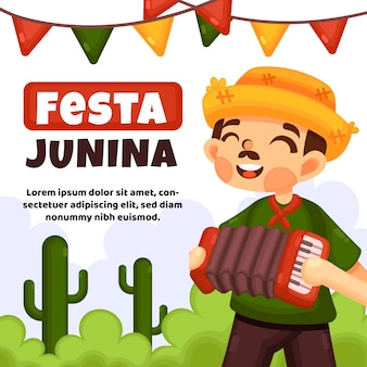Festa junina evento design plano