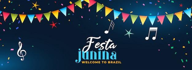 Festa junina festa celebração música banner