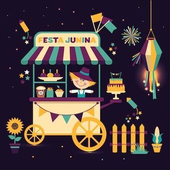 Festa junina festival da aldeia na américa latina. conjunto de ícones em cor brilhante.