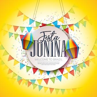 Festa junina festival design com bandeiras do partido e lanterna de papel