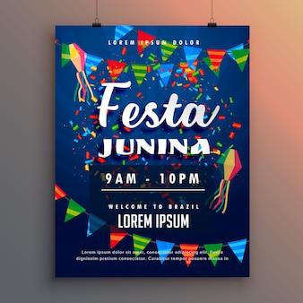 Festa junina flyer poster com decoração de confetes e guirlandas