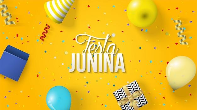 Festa junina fundo com ilustrações de balão, chapéus e caixas de presente.