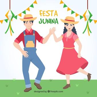 Festa, junina, fundo, par, dançar